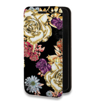 Дизайнерский горизонтальный чехол-книжка для Sony Xperia X Compact Цветы