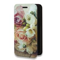 Дизайнерский горизонтальный чехол-книжка для Alcatel Pop 4 Plus Цветы