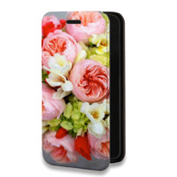 Дизайнерский горизонтальный чехол-книжка для Huawei P9 Lite Цветы