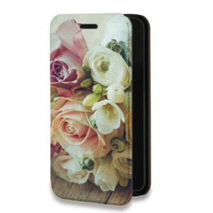 Дизайнерский горизонтальный чехол-книжка для Huawei Y5 II Цветы