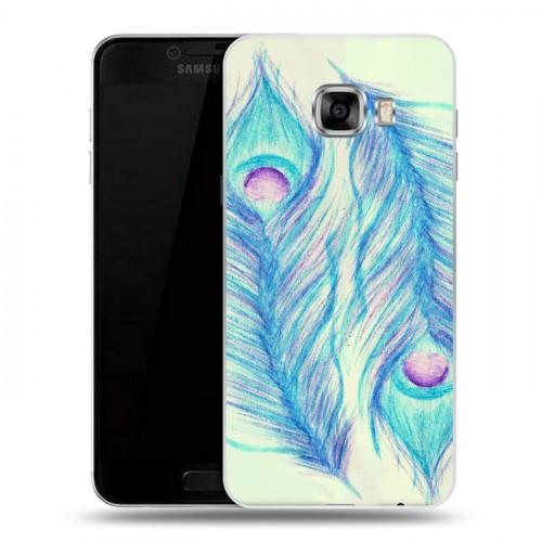 Дизайнерский пластиковый чехол для Samsung Galaxy C5 Перья павлина