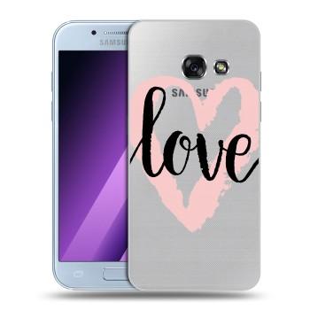 Полупрозрачный дизайнерский силиконовый чехол для Samsung Galaxy A5 (2017) Прозрачные сердечки (на заказ)