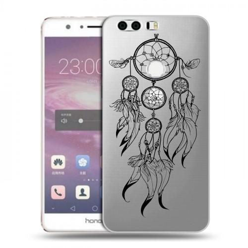 Полупрозрачный дизайнерский пластиковый чехол для Huawei Honor 8 Прозрачные ловцы снов (на заказ)