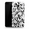 Полупрозрачный дизайнерский силиконовый чехол для Samsung Galaxy C5 Стильные сердца