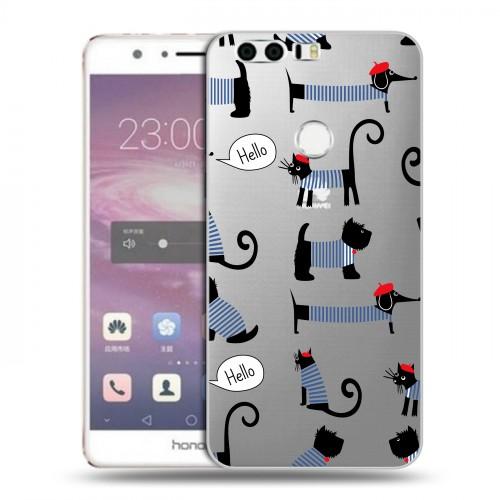 Полупрозрачный дизайнерский пластиковый чехол для Huawei Honor 8 Кошки  (на заказ)
