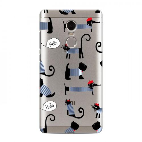 Полупрозрачный дизайнерский пластиковый чехол для Xiaomi RedMi Note 4 Кошки  (на заказ)