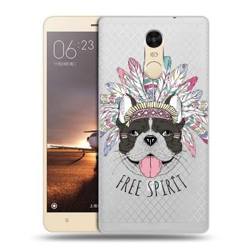 Полупрозрачный дизайнерский пластиковый чехол для Xiaomi RedMi Note 4 Собаки  (на заказ)