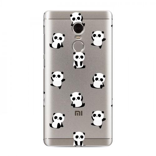 Полупрозрачный дизайнерский пластиковый чехол для Xiaomi RedMi Note 4 Прозрачные панды  (на заказ)