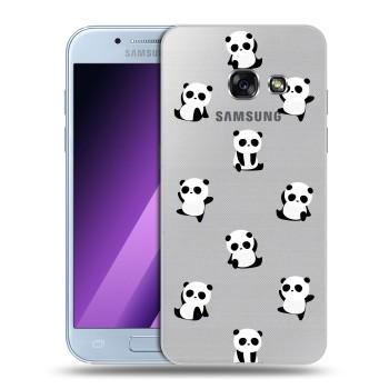 Полупрозрачный дизайнерский силиконовый чехол для Samsung Galaxy A5 (2017) Прозрачные панды  (на заказ)