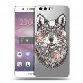 Полупрозрачный дизайнерский пластиковый чехол для Huawei Honor 8 Волки  (на заказ)