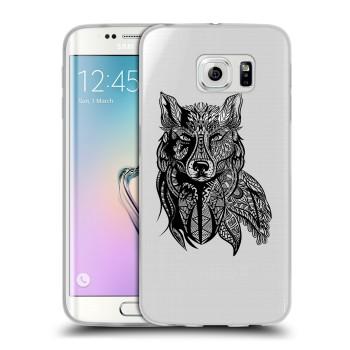 Полупрозрачный дизайнерский силиконовый чехол для Samsung Galaxy S6 Edge Волки (на заказ)