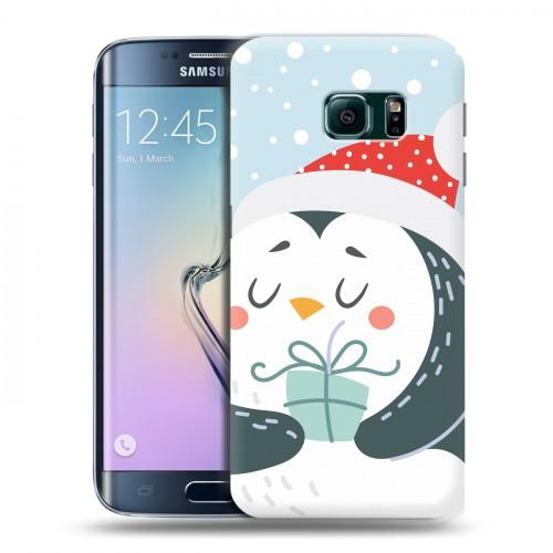 Дизайнерский пластиковый чехол для Samsung Galaxy S6 Edge  Новогоднее смешенное