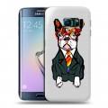 Полупрозрачный дизайнерский силиконовый чехол для Samsung Galaxy S6 Edge Прозрачные щенки