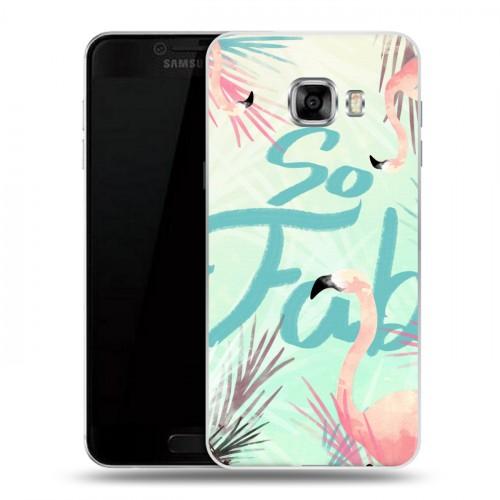 Дизайнерский пластиковый чехол для Samsung Galaxy C5 Розовые фламинго