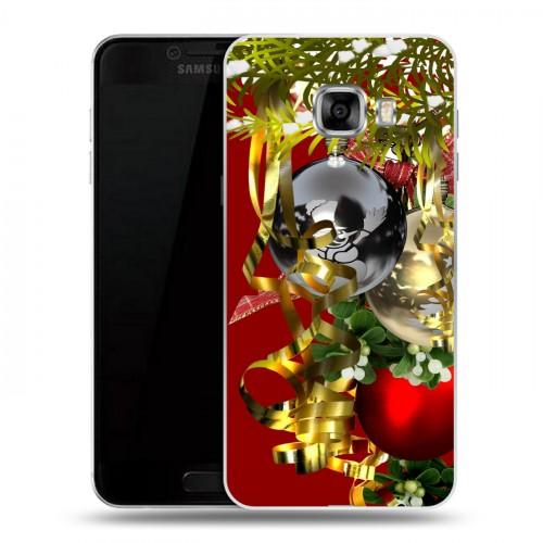 Дизайнерский пластиковый чехол для Samsung Galaxy C5 Новогодние шары