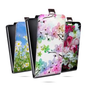 Дизайнерский вертикальный чехол-книжка для Iphone 12 Mini Цветы