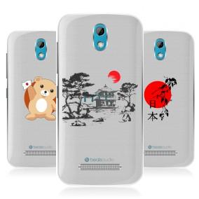 Дизайнерский пластиковый чехол для HTC Desire 500 Прозрачная япония