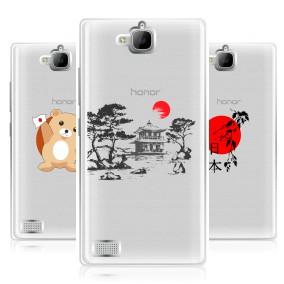 Дизайнерский силиконовый чехол для Huawei Honor 3c Прозрачная япония