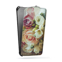 Дизайнерский вертикальный чехол-книжка для Huawei P8 Lite Цветы